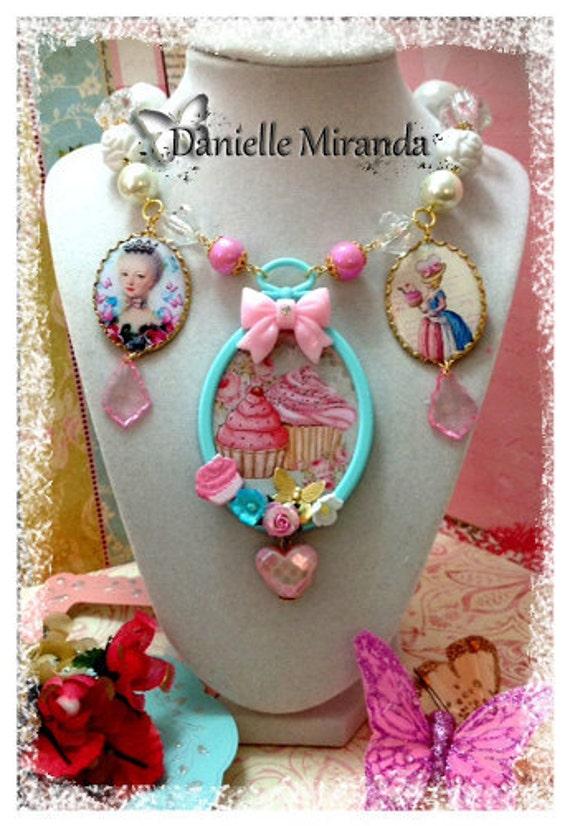 SALE SALE Marie Eat Cupcakes Shabby Kawaii Style Charm Necklace