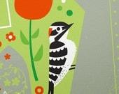 garden woodpecker limited edition print
