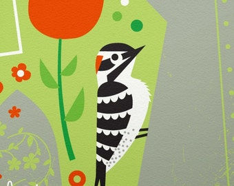 garden woodpecker limited edition print