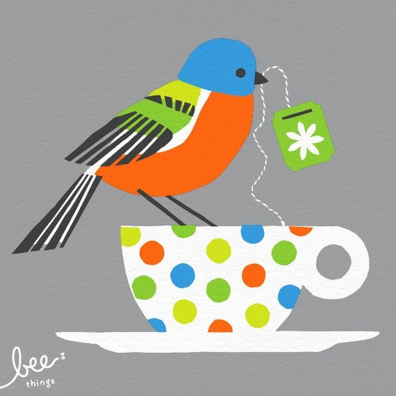 painted bunting limited edition print - grey