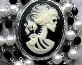 Gothic Jewelry Locket Undead Goddess Skeletal Woman Cameo Pearl Necklace