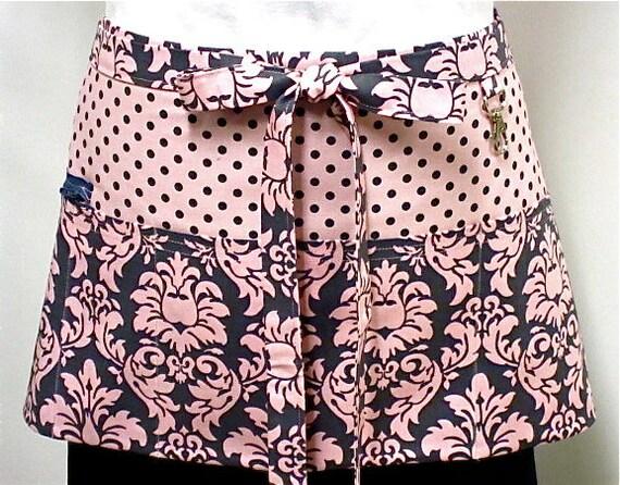 Bloom Dandy Damask Zipper/Key Clasp Vendor Apron