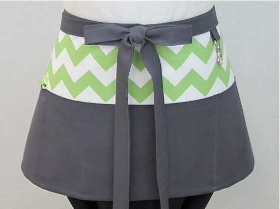 Medium Chevrons and Solids Zipper/Key Clasp Vendor Half  Apron- Choose Your Colors