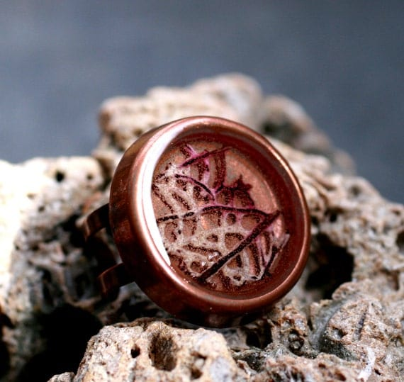 Sale- sea fan ring adjustable ring large round copper mermaid resin cocktail real SEA FAN RING