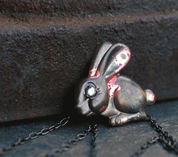bunny necklace oxidized brass rabbit tiny diamond cz sparkly rustic patina little small pendant SPARKLE BUNNY