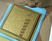 Masculine Handmade Birthday Card scrapbook style Argyle Pinstripe Blue Green Brown by Karrilee