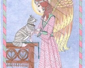 Guardian of cats set of four cards for eight dollars
