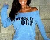 WORK IT OUT Off the Shoulder Girly Sweatshirt