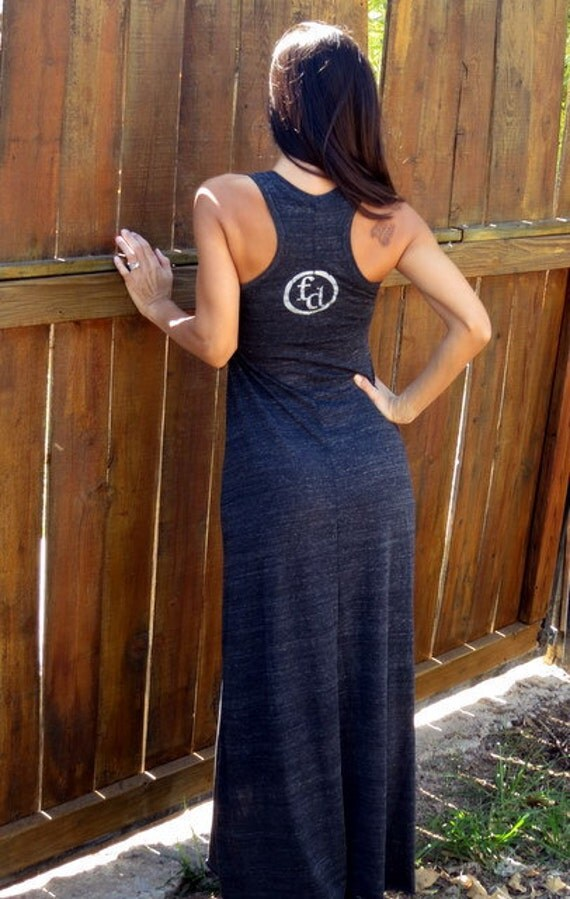 Firedaughter Logo Racerback Eco-Heather Flowy Dress size LARGE