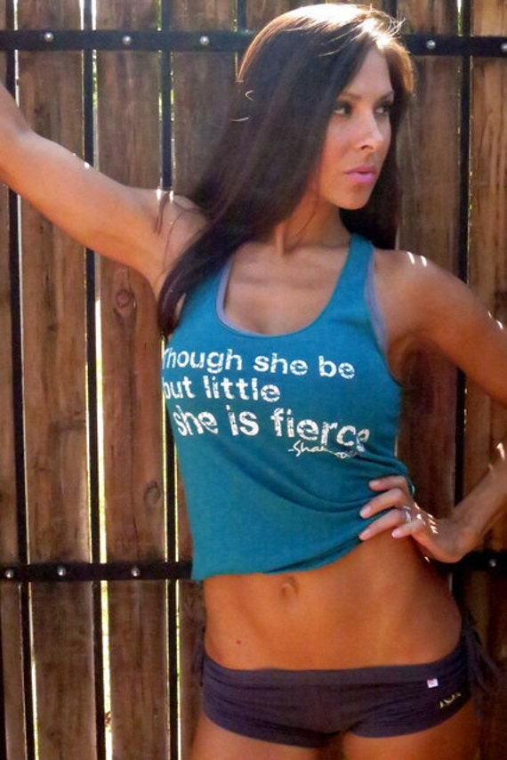 Though she be but little she is FIERCE. Old-School Gym Tank.  Size SMALL