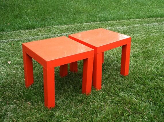 Orange Mod Side Tables Set of 2 Indoor/ Outdoor