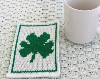 Knit Shamrock Mugrug
