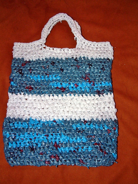 Crochet Grocery Bag : RECYCLED PLASTIC GROCERY BAGS CROCHET CRAFT TOTE BAG