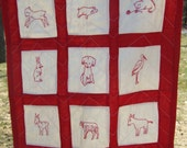 Crib Sized 1920's Red Work Quilt