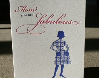 Mom, You're Fabulous, retro letterpress greeting card