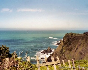 Ocean Photography, Mendocino Coastal art California seascape Cliffs Blue green sea Decor -Coastal Wall Art Print 5x7, matted, 8x10 In Stock