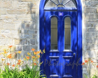 Door Photography Old Quebec City Photos Blue Green Yellow Gray Wall Art, Blue door print. 8x10, 5x7 matted Travel Fine Art Photo In Stock