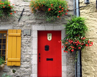 Door Photography, Old Vieux Quebec City Canada Photos, Red Yellow Green Gray Decor, Red Door, Red Art Print 8x10 Travel Photography In Stock