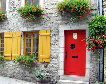 Red Door Photos, Old Quebec City Photos. Vieux Quebec Canada Green Grey Red Yellow Home Decor 8x10 Travel Fine Art Photography In Stock
