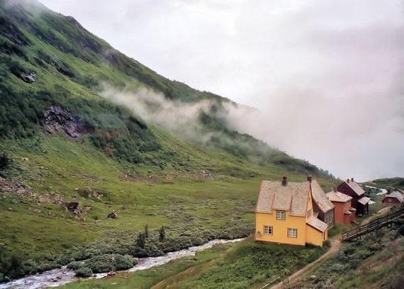 Scandinavian Farmhouse photo Travel photography. Valley. clouds. stream. green. ochre home decor. nature wall art. 5x7 Landscape Photograph
