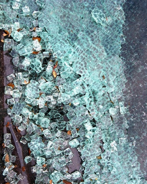 Abstract photography- Shattered glass photo, blue green white home decor, Unique glass wall art print, 5x7, matted, 8x10 Fine Art Photograph