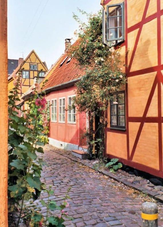 Scandinavian Travel Photography Quaint Cobblestone Street photo Helsingor Denmark Danish wall art  5x7 or 8x10 Photograph Metallic Paper