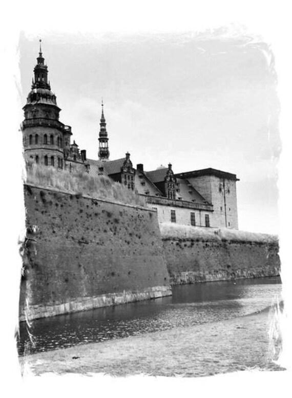 "Scandinavian Castle Photography, Denmark prints. Kronborg ""Hamlet's"" Castle photo, Black & White decor 5x7, 8x10 + Matted Travel Photography"