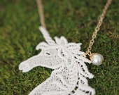 unicorn / lace necklace