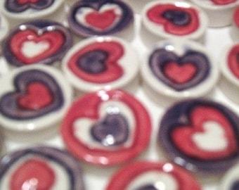 Mosaic Tiles- 25 handmade, handglazed clay tiles, Retro, fun, hearts  NEW LOWER PRICE