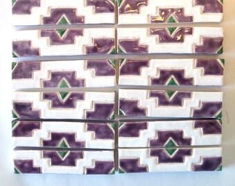 SALE! SaLe! Half Price- SOUTHWEST STYLE border tiles--110 handmade hand-glazed ceramic tiles for mosaic backsplash or border