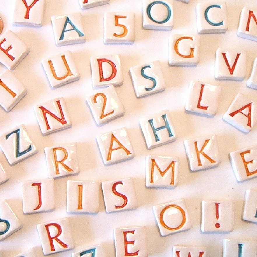 Mosaic alphabet tiles set of 43 letters and numbers for Ceramic tile numbers and letters