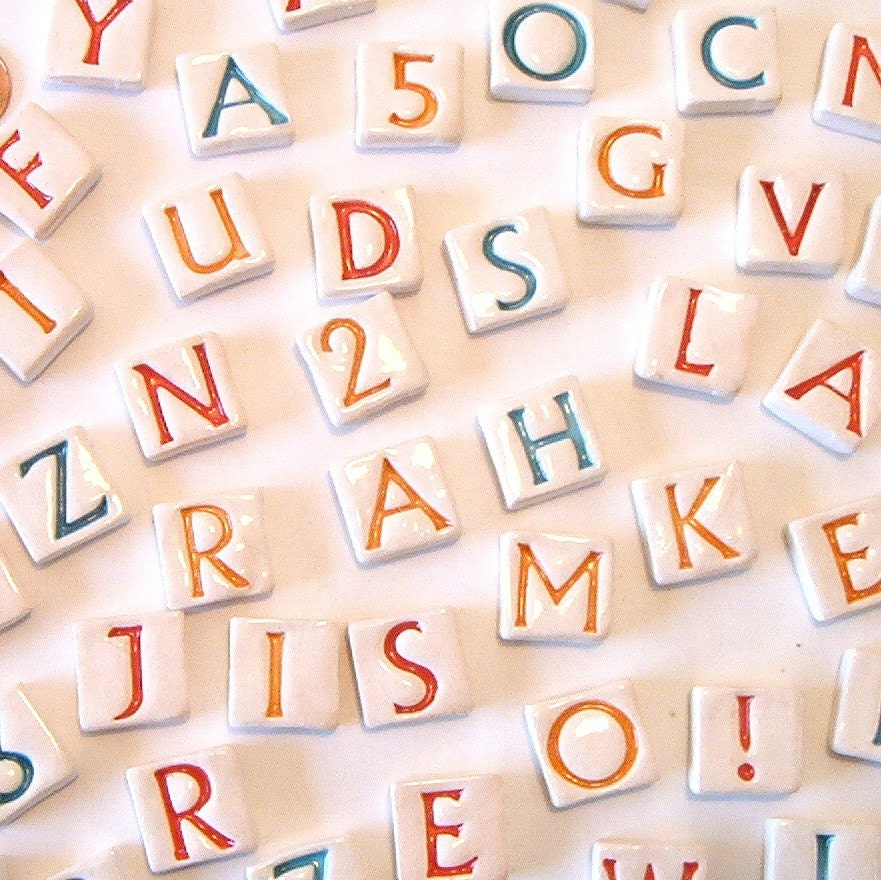 Mosaic Alphabet Tiles Set Of 43 Letters And Numbers