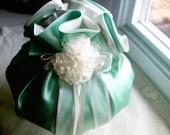 Lovely Rosette Ring Pillow Green - Extra Large Sachet - Girls Decorative Pillow