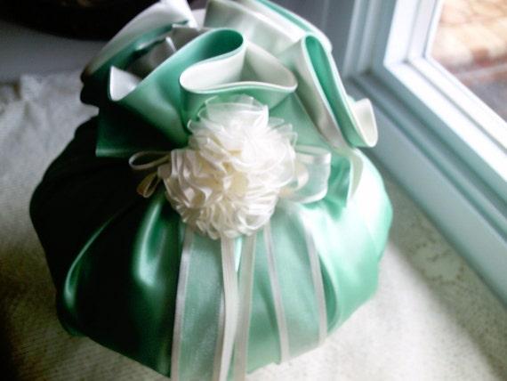 Rosette Ring Bearer Pillow Large Sachet Girls' Decorative Pillow Green