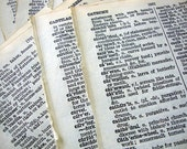 Tiny Treasures - Vintage Dictionary Pages from a 1950s dictionary