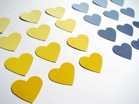 24 Hand Punched Ombre Hearts Yellows and Blues FREE US shipping