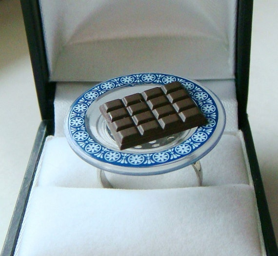 Chocolate Bar Ring - Cute Kawaii Miniature Food Jewelry