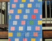 Blue Thirties Modern Baby toddler quilt - SALE