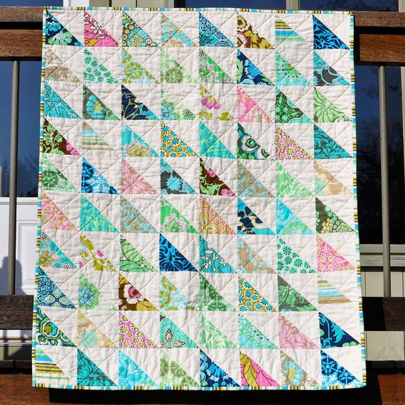 Items Similar To Blue Green Modern Triangle Baby Quilt On Etsy