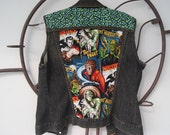 Denim Vest - Green Leopard Print & Vintage Monsters