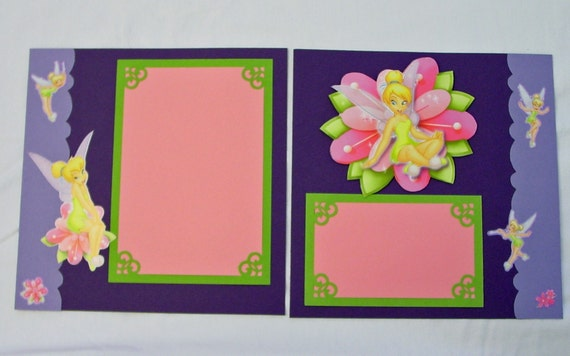 tinkerbell 8x8 double page scrapbook layout