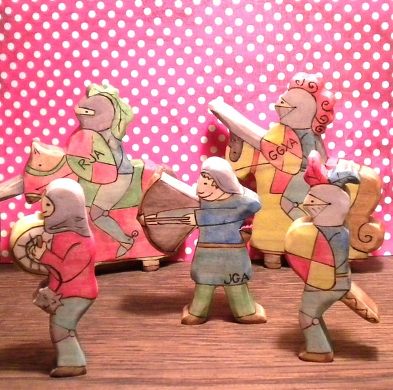 Waldorf Inspired Kids Wooden Knight Toy Doll Play Set RESERVED for Jenstone