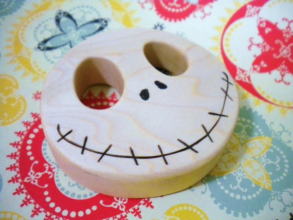 Waldorf Inspired Wooden Baby's NIGHTMARE BEFORE CHRISTMAS Jack Skellington Teething Clutch Toy