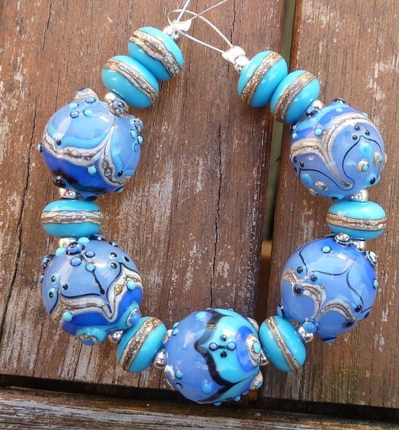 Windswept .... lampwork bead set by Pixie Willow designs