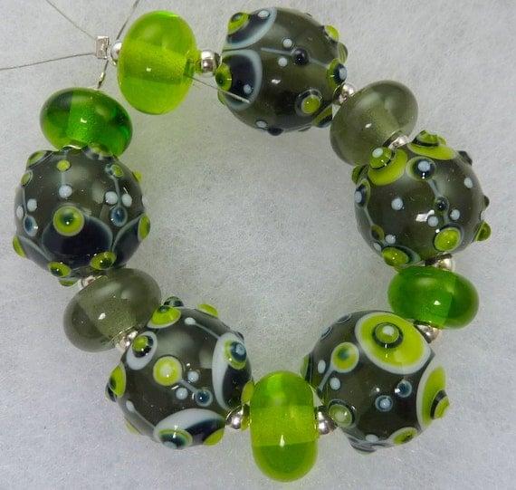 Steel Riverside...... Lampwork bead set by Pixie Willow Designs