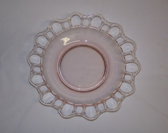 Antique Pink Lacey Glass Bowl 1900-1920
