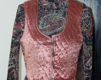 Cute Vintage Quilted Velvet Vest size M