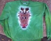 Deer head Tie Dye rudolph the rednosed reindeer tshirt long sleeve size adult small