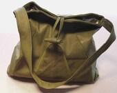 Dark moss green leather shoulder bag