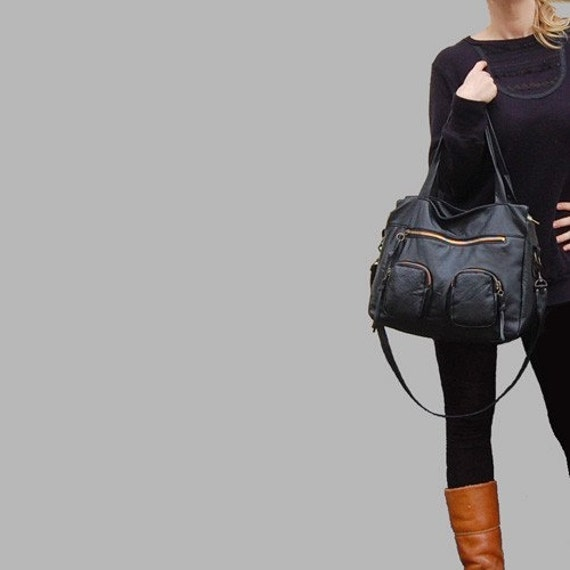 NEW 3 pocket Willow bag in black - clip on carrying strap